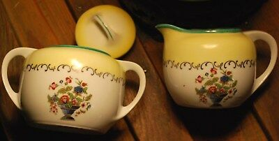 LARGE Antique Germany CREAMER & SUGAR BOWL Set PORCELAIN Yellow Green Floral