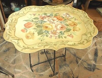 """Painted Toleware Metal Tray & Folding Metal Stand Butler Table 25"""""""