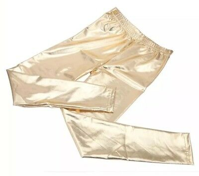 Womens Lame Footless Leggings GOLD Metallic Sexy Shiny Stretchy Size S / M NEW