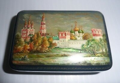 """RUSSIAN BLACK LACQUER BOX 1998 Lot 16 of 18 NOVODEVICHY MONASTERY 3 1/2"""" Long"""