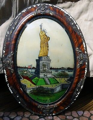 Rare Antique Art Nouveau Folk Art Statue Of Liberty Ny Reverse Painting On Glass