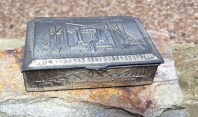 Rare Antique 1933 Chicago Worlds Fair Silvermetal Trinket Jewelry Box N Shure Co