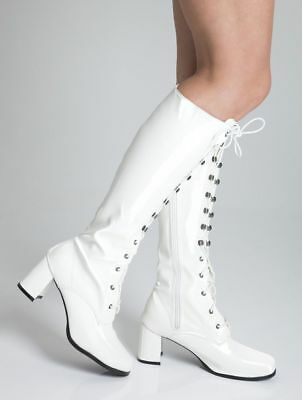 Womens Ladies White  Go Go Fancy Dress Retro 60's 70's Knee high boots Size 3-11