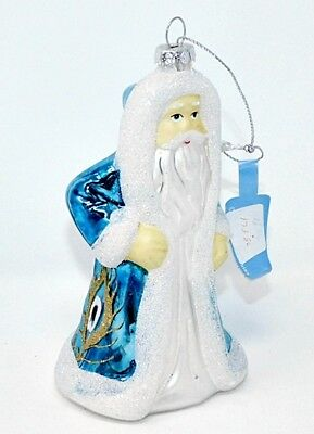 "1 Blue Glass 5"" Santa Luxury Christmas Ornament Peacock Colors by ROMAN Gifts"