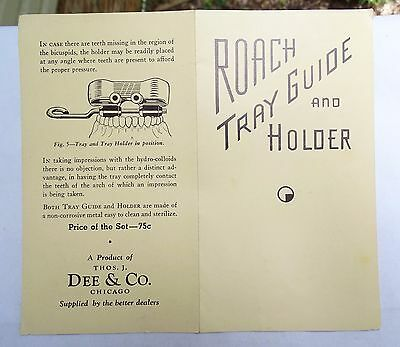 RARE 20s ORIGINAL ROACH DENTAL TRAY GUIDE & HOLDER OPERATING INSTRUCTIONS MANUAL