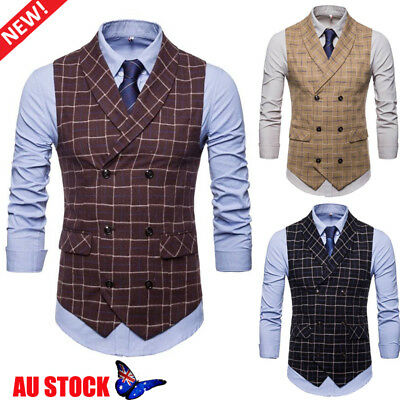 Men's Plaid Check Waistcoat Formal Business Suit Vest Vintage Casual Coat Jacket