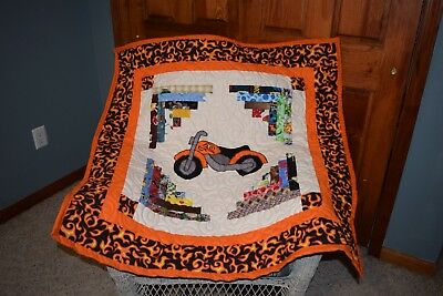 Motorcycle Applique Baby Quilt *Like Harley*