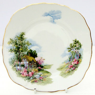 Vintage Royal Vale Bone China Thatched Country Cottage Tea Plate