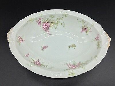 Theodore Haviland Limoges France 10'' Oval Serving Bowl Pink Cherry Blossom