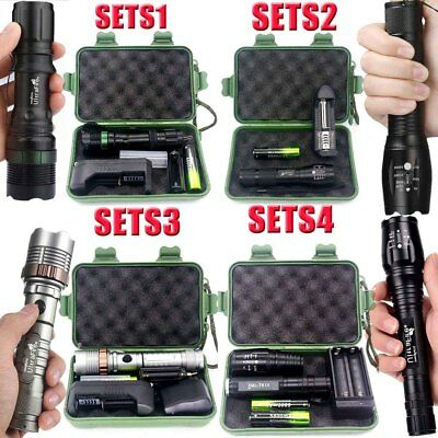 Tactical Zoomable 80000Lumen LED T6 LED Flashlight Lamp Torch+18650+Charger+Case