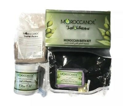 Moroccan Oil Moroccan Bath Kit- Complete Kit- Ghassoul Black Soap Hammam Tous