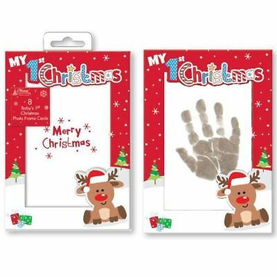 Baby's 1st Christmas Card Photo, Inkless Wipe & Paper for Hand Foot Print Cards
