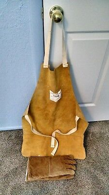 leather welding apron and leather gloves