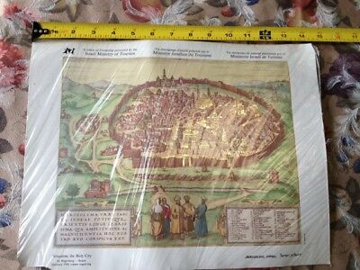 Print of Jerusalem, Holy City by Hogenberg Braun Germany 1584, copper engraving