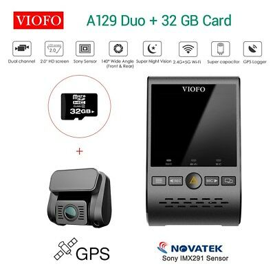 """Viofo A129 Duo Dual Channel 1080P 30FPS 2"""" HD Wifi GPS DVR Recorder + 32G Card"""
