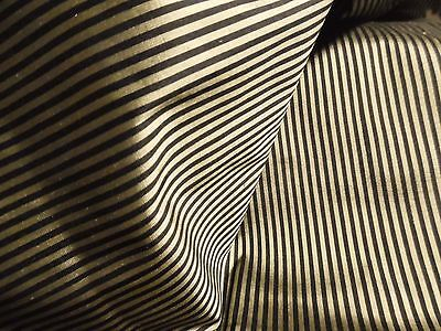 "'SMALLER SIZE'  MICRO STRIPE SILK~BLACK/GOLD~9""x22""~DOLL FABRIC~ MINIATURES"