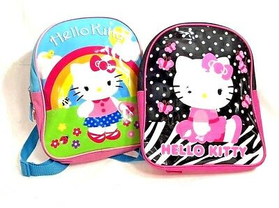 Hello Kitty Lot Of 2 Girls Backpack Purse Travel Bags 8x10 Plastic And Canvas