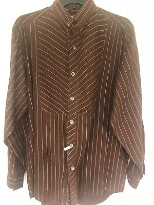 Frontier Classics Old West Costume Brown Striped Banded Collar Men's shirt M