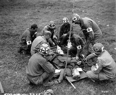 WW2 Photo WWII US Medics with Wounded Soldier in Normandy D-Day World War / 1215