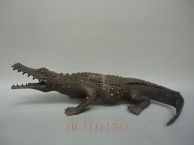 """L13"""" Collection Old China Bronze Carving Crocodile Statue Lovely Decoration Gift"""