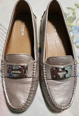 35f900e9d9a COACH Leather Women s Shoes Napoleon Pewter Casual Loafer Moccasins Slip On