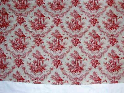 Vintage Cotton Red Cream Toile Pagoda Chinoiserie 2.83 yds Floral Birds Fabric