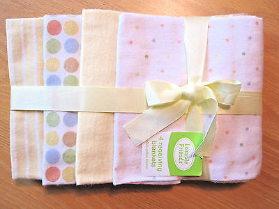 Cotton Flannel Receiving Blankets Baby Boy Girl Luvable Friends Yellow Dots NWT