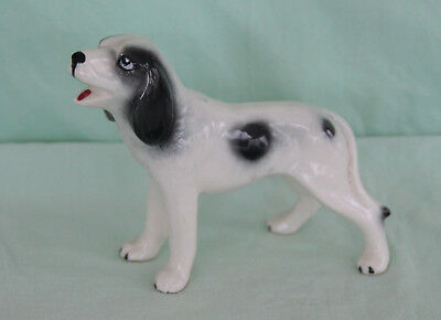 Vintage 1960s B&W Short Hair Pointer Standing Small Ceramic Figurine 3.5""