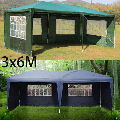 3 X 6M Garden Heavy Duty Waterproof Gazebo Marquee Party Tent W/4 Side Walls