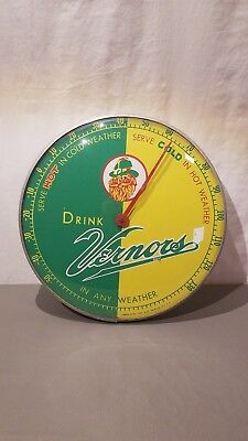 """Vintage Advertising Drink Vernor's Ginger Ale 12"""" Glass Round Thermometer 495A"""