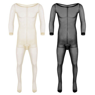 Adult Men Full Body Stocking Lingerie Ultra-thin Long Sleeve Pantyhose Christmas