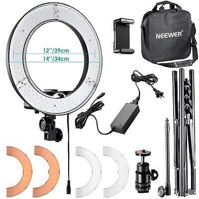 """Neewer LED Ring Light 14"""" Stand Carrying Bag Soft Tube Filter Video Shooting"""