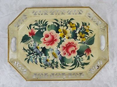 Vintage Antique Metal Tray Hand Painted Floral Shabby Chic Toleware Tole