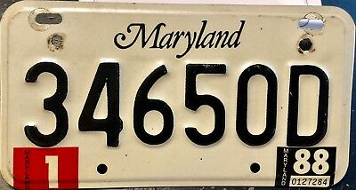1988 Maryland motorcycle license plate