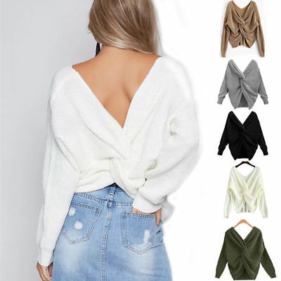 Ladies Womens Winter Knitted Wrap Back Twist Knot Front Crop Jumper Sweater Top
