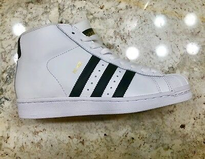 sale retailer ada6d f0288 Adidas Pro Model J Junior GS White and Black B85962 Shell Toe Boys Gold