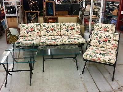 Vintage 6 piece Floral Patio Furniture Set  Wrought iron and glass. Heavy Duty.