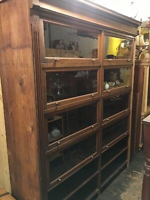 Huge Antique Barrister Bookcase Mercantile Cabinet Mahogany Original Display