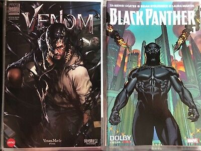 Venom and Black Panther AMC movie exclusive comics. Opening night releases
