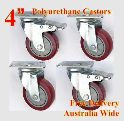 "4"" PU castor wheels, heavy duty casters, 600kg still loading, trolley bench furn"