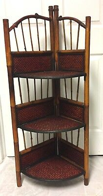 Antique Vintage Bamboo Corner Shelf Display Stand Shelves 45 Tall Rare