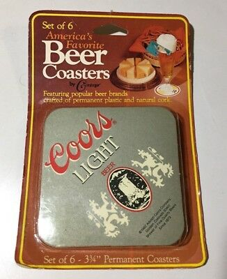 Coors Light Americas Favorite Beer Coasters Set Of 6 Brand New Vintage 1982