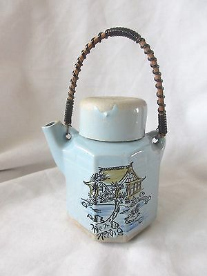 Vintage Japanese Ceramic Teapot w/ Wired Wickers Handle Baby Blue Buddhist Assoc
