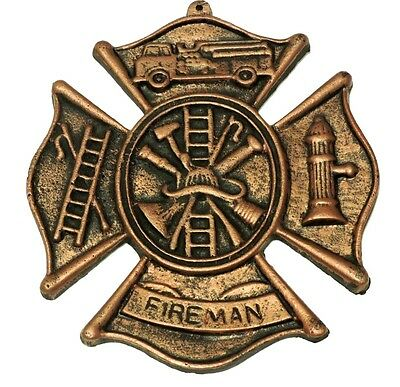 Fireman Plaque Cast Iron Rustic Wall Decor Old Fashioned New Vintage 8x9 inches