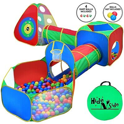 Hide N Side Kids Ball Pit Play Tents & Tunnels, Basketball Hoop. FREE EXP SHIP!!