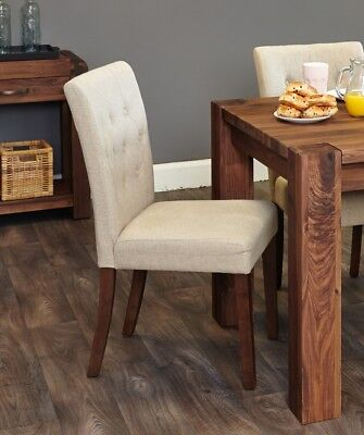 Walnut Flare Back Upholstered Dining Chair - Biscuit (Pack of Two) - Baumhaus
