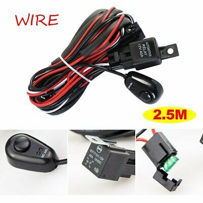 LED Light Wire Harness Work Light Bar Wiring Loom Switch Relay Kits 4X4 4WD SUV