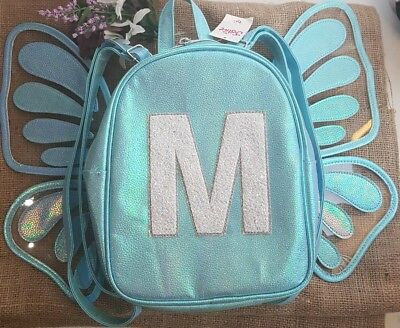 🌱 Justice - Butterfly Letter M Shiny Blue Mini Backpack (New)
