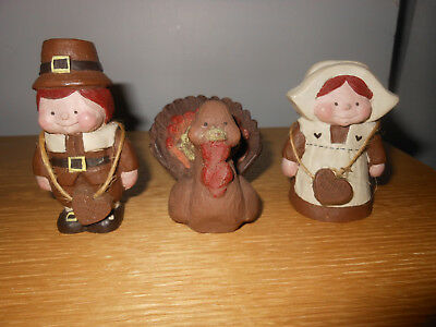 Sarah's Attic Two Chunky Pilgrims and their Turkey, Made in USA