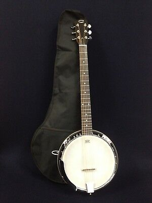 Caraya BJ-006 6-String Guitar Banjo w/Mahogany Resonator+Free Gig Bag